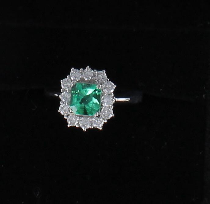 PLATINUM EMERALD AND DIAMOND RING 205-2550