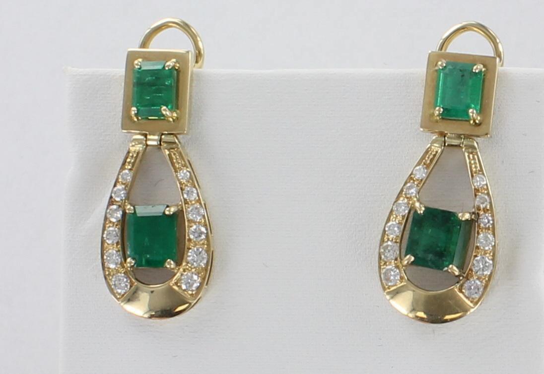 14KT EMERALD AND DIAMOND EARRINGS