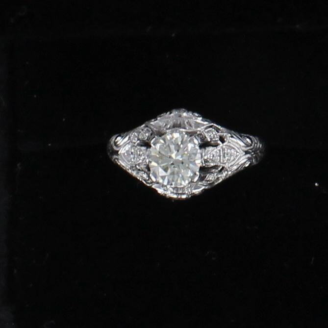 14KT 1.0 CT ROUND DIAMOND ENGAGEMENT RING CIRCA 1920