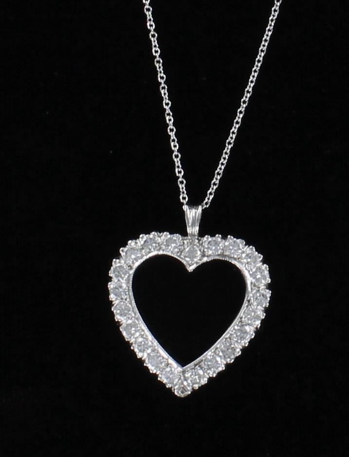 14KT 1.70 CT TW DIAMOND HEART PENDANT 205-2431