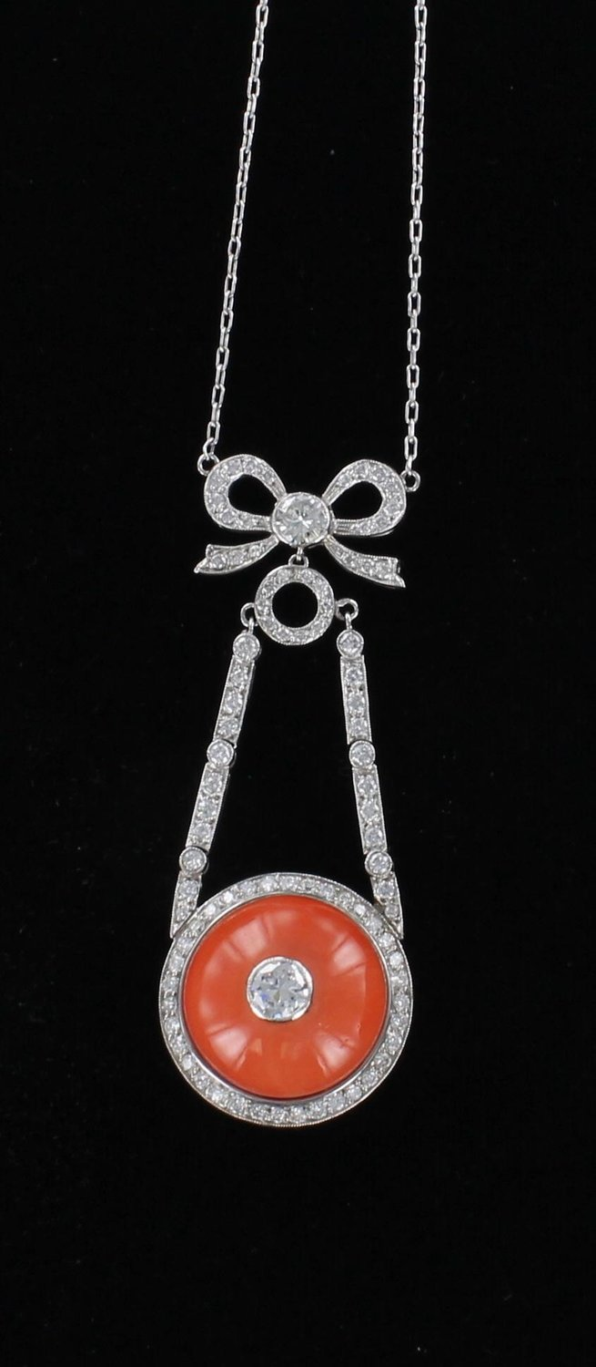PLATINUM 3.0 CT TW DIAMOND AND CORAL NECKLACE