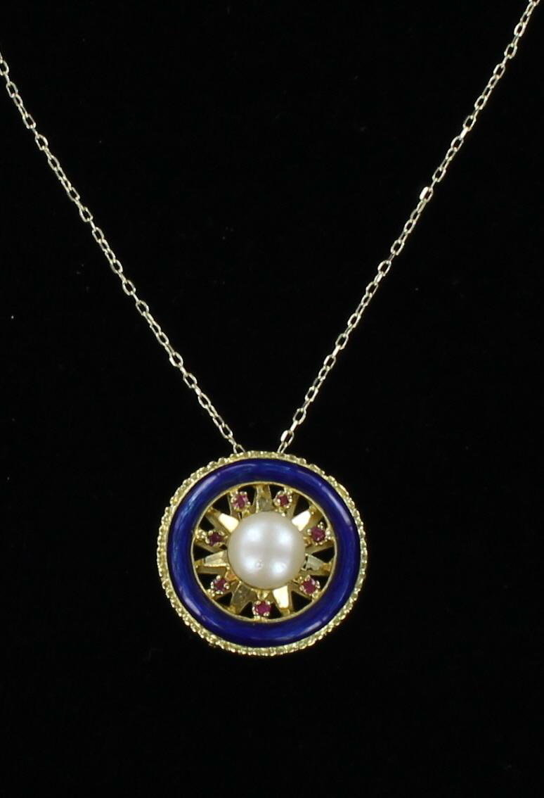 18KT PEARL, RUBY AND ENAMEL PENDANT