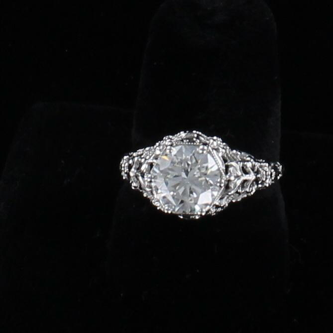 18KT ART DECO GIA CERTIFIED 1.79 CT ROUND BRILLIANT DIAMOND ENGAGEMENT RING 400-1