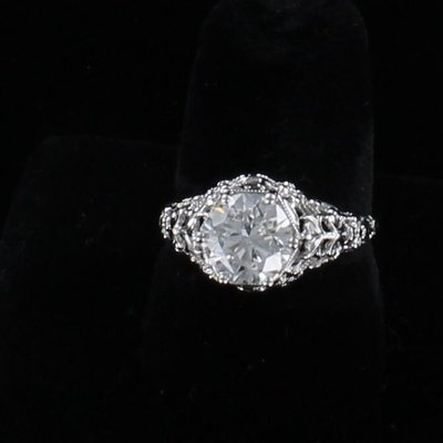 18KT ART DECO GIA CERTIFIED 1.79 CT ROUND BRILLIANT DIAMOND ENGAGEMENT RING