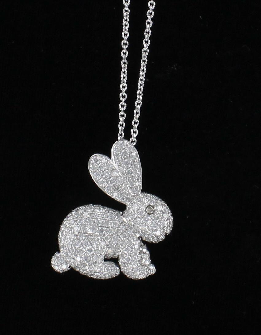 18KTW 3.5 CT. TW. ROUND BRILLIANT DIAMOND BUNNY PENDANT