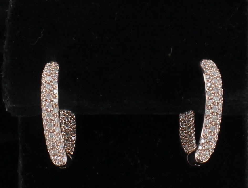 14KT ROSE GOLD 1.50 CT TW DIAMOND HOOP EARRINGS 101-2887