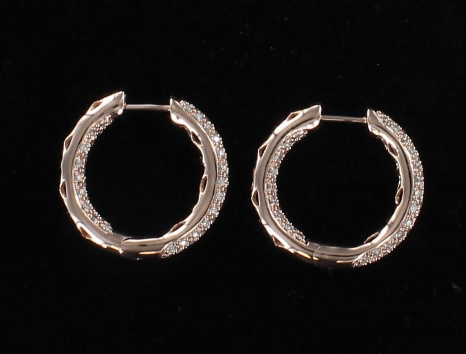 14KT ROSE GOLD 1.50 CT TW DIAMOND HOOP EARRINGS