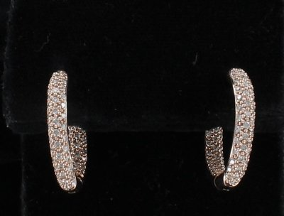 14KT ROSE GOLD 1.50 CT TW DIAMOND HOOP EARRINGS
