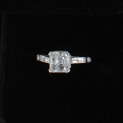 PLATINUM 2.01 CT ASSCHER CUT DIAMOND, VS2-F, ENGAGEMENT RING