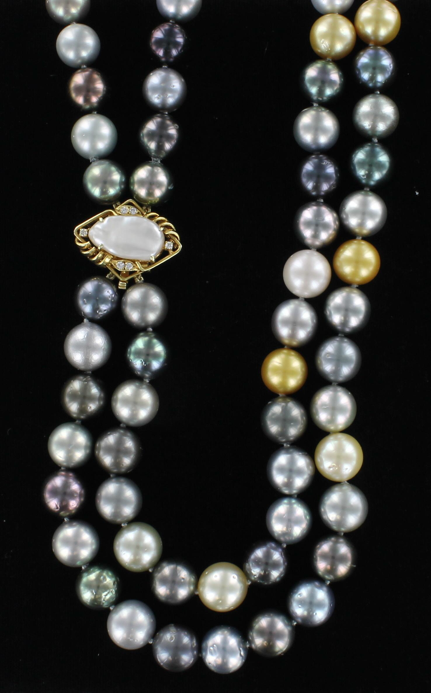 14KT MULTI-COLOR TAHITIAN PEARL NECKLACE 101-2868