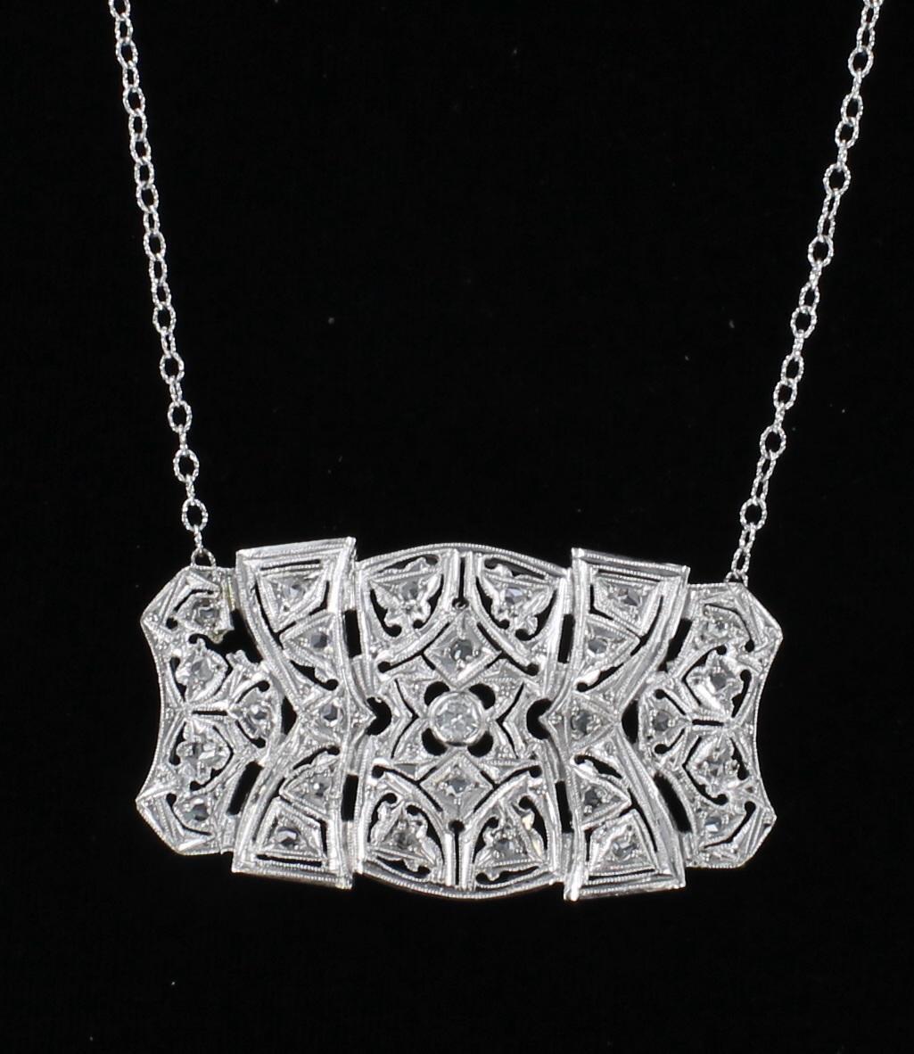 18KT ART DECO DIAMOND NECKLACE 198-23751