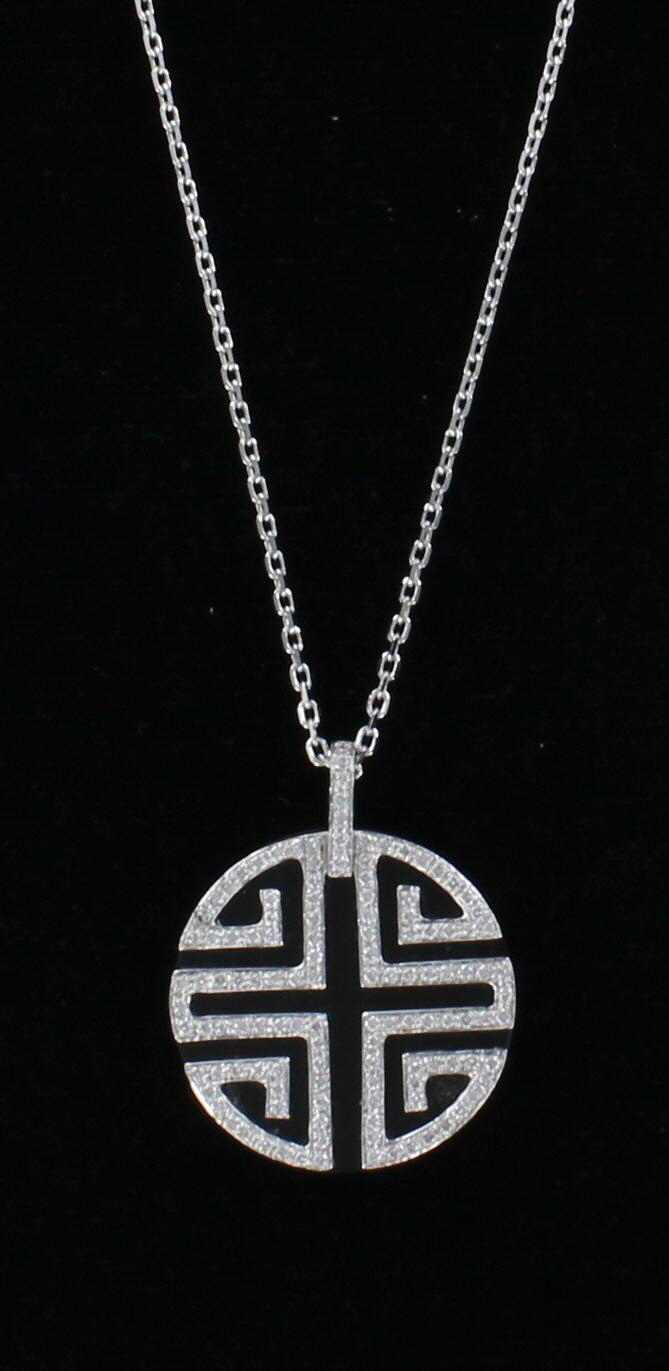 18KT ONYX AND DIAMOND NECKLACE 101-2505