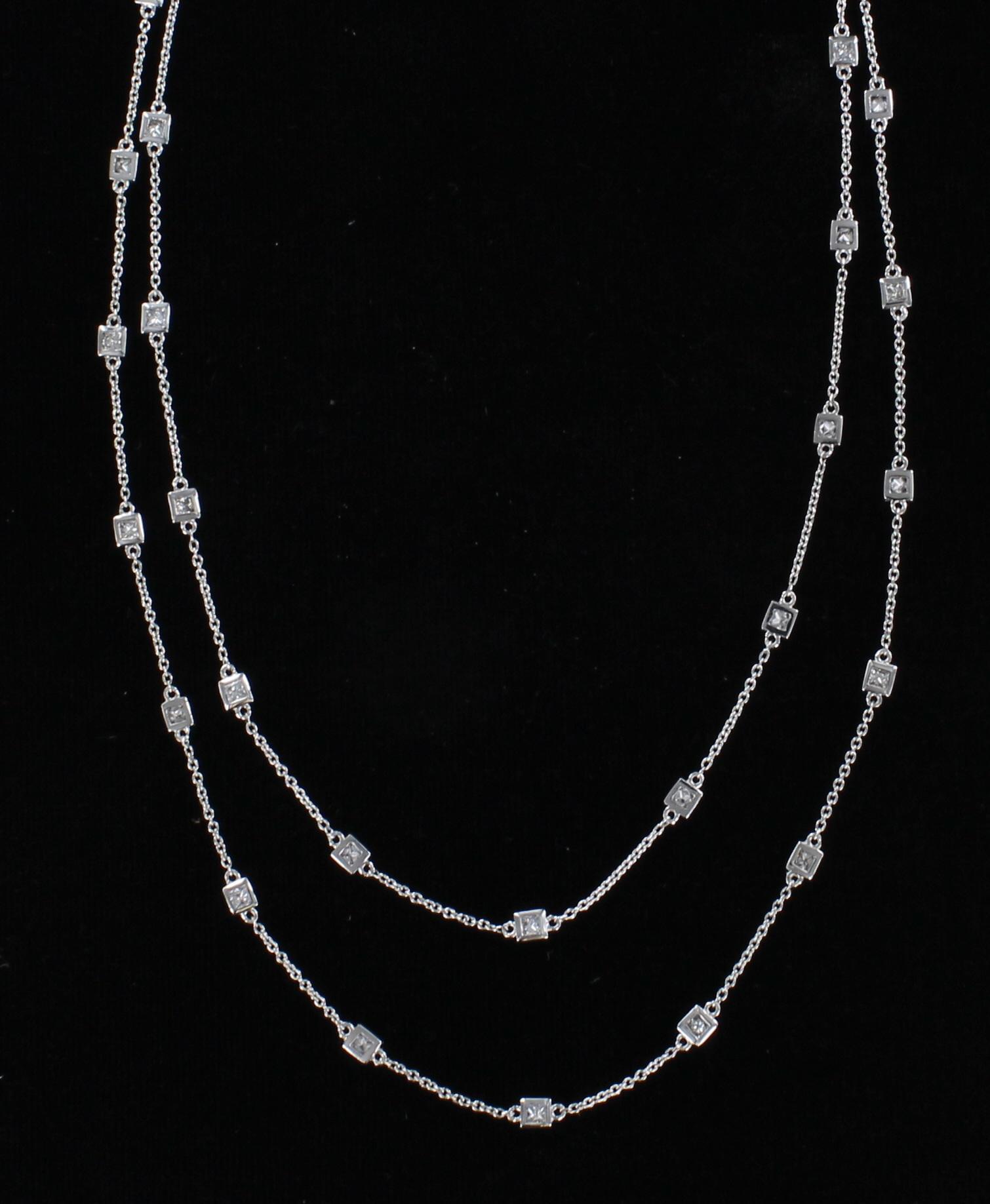 14KTW PRINCESS-CUT DIAMOND CHAIN 101-2878