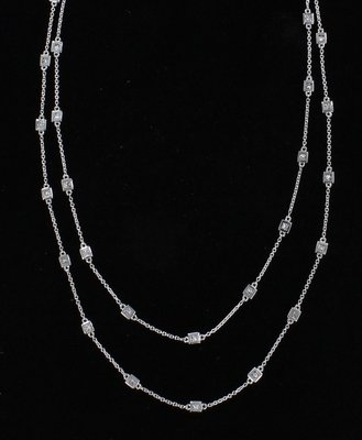 14KTW PRINCESS-CUT DIAMOND CHAIN