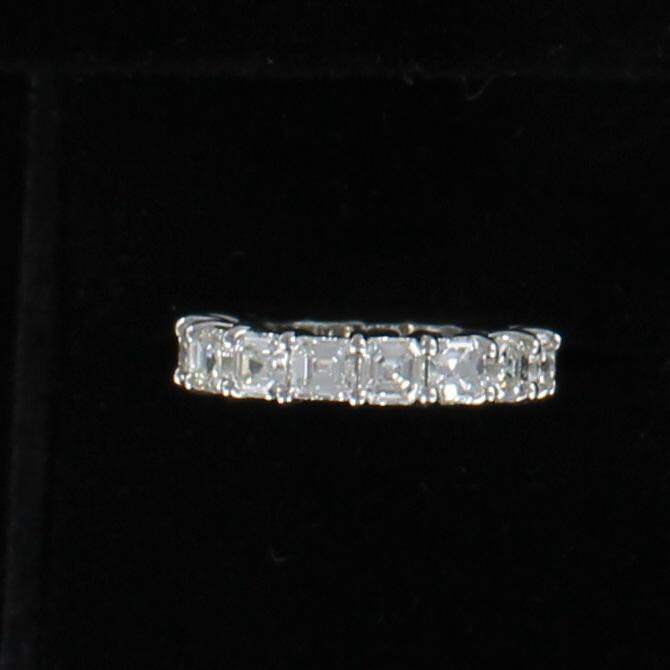 PLATINUM ASSCHER-CUT DIAMOND ETERNITY BAND, SZ 6.5 036-839