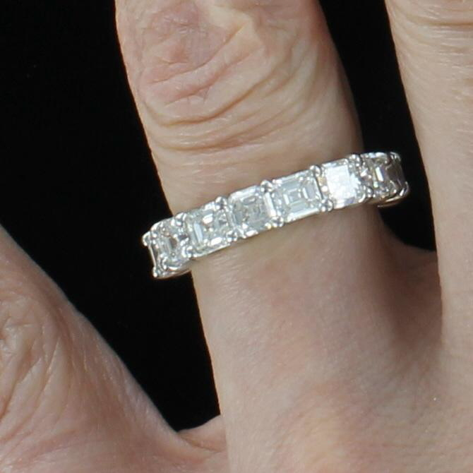 PLATINUM ASSCHER-CUT DIAMOND ETERNITY BAND, SZ 6.5
