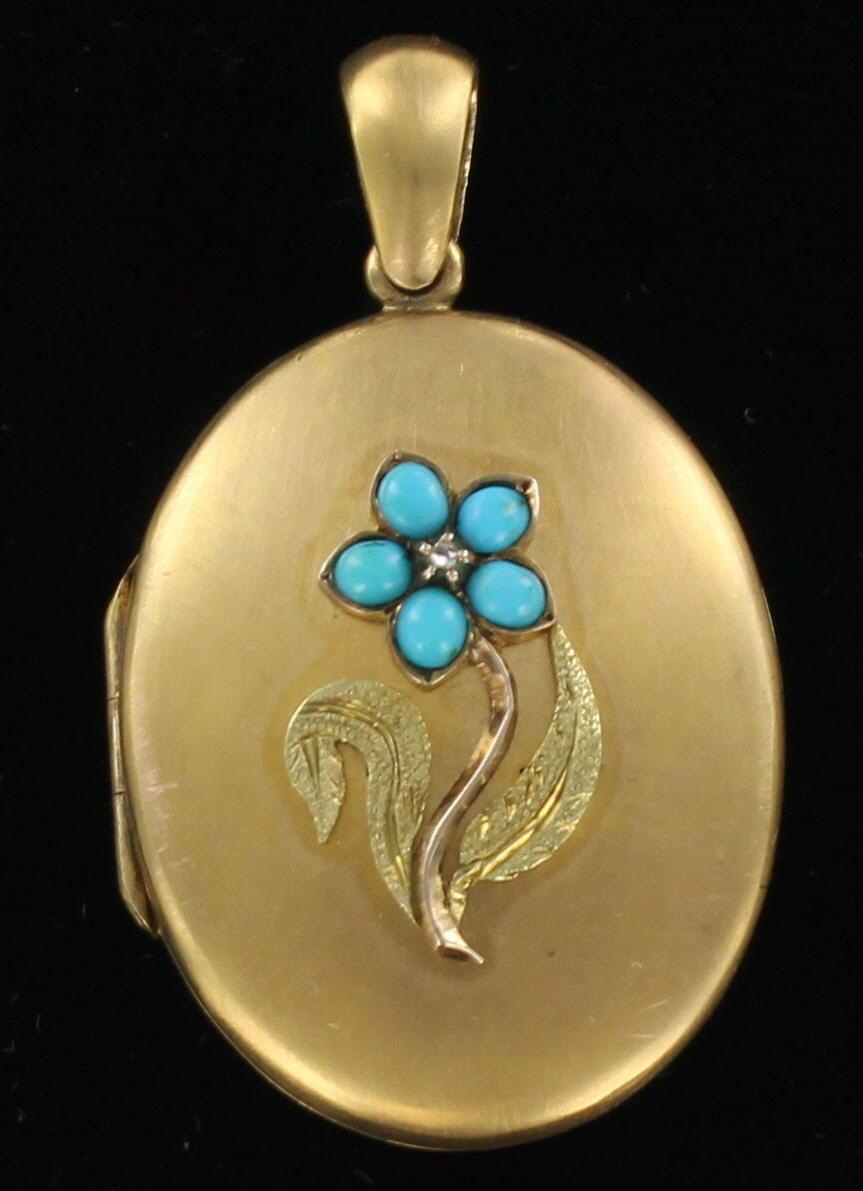 12KT LOCKET WITH TURQUOISE CIRCA 1900 95-103
