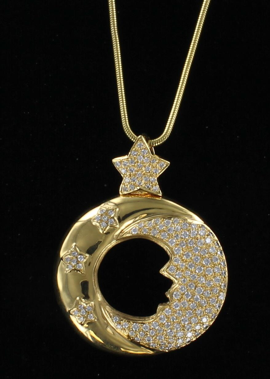18KT MOON AND STAR PENDANT 101-2900