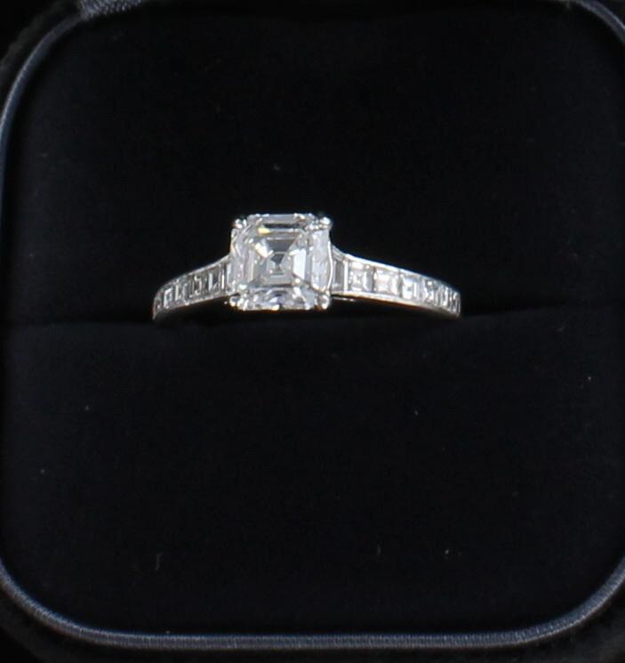 PLATINUM TIFFANY 1.52 ASSCHER CUT DIAMOND ENGAGEMENT RING