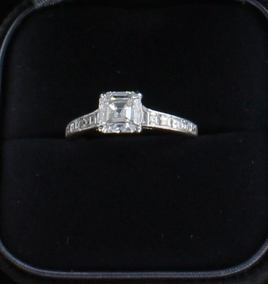 PLATINUM TIFFANY 1.52 ASSCHER CUT DIAMOND ENGAGEMENT RING