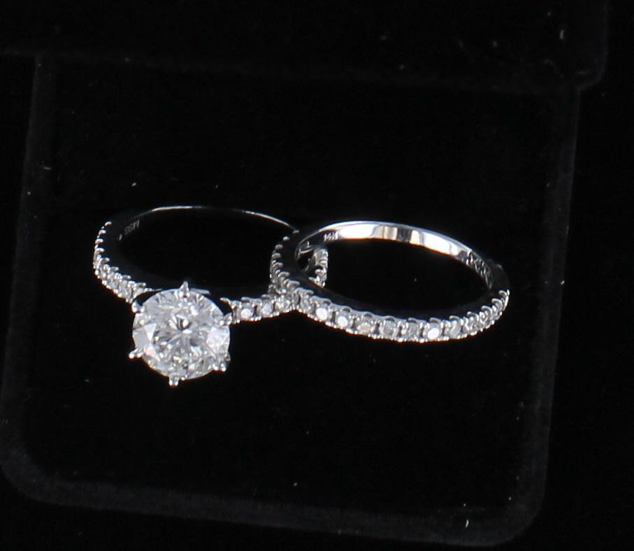 14KTW GIA CERTIFIED 2.0 CT ROUND BRILLIANT DIAMOND ENGAGEMENT WEDDING SET