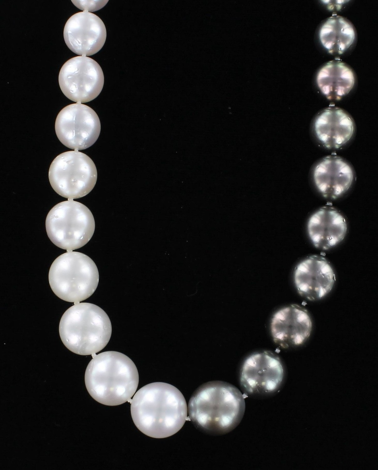 14KT BLACK AND WHITE SOUTH SEA PEARL NECKLACE