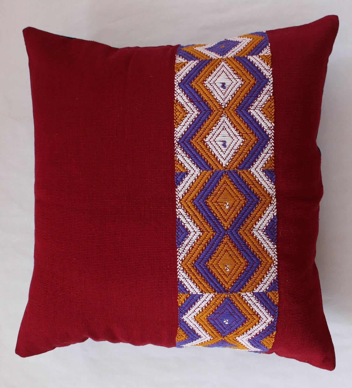 Woven Cushion Cover - Dark Red Geometric