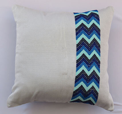 ​Woven Cushion Cover - Gray with Zig Zag