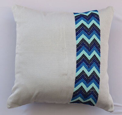 Woven Cushion Cover - Gray with Zig Zag