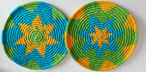 Coasters - Lime, Sky Blue, Maize - Set of 6