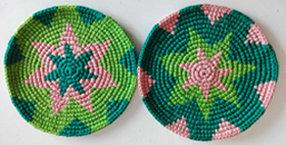 Coasters - Lime, Teal, Pink - Set of 6