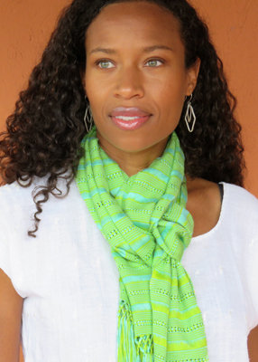 "10"" Wide Scarf - Aquamarine, Lime"