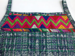 Green Jaspe Apron with Tecpan Huipil