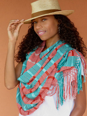 """20"""" Wide Scarf/Shawl - Queen of Hearts"""