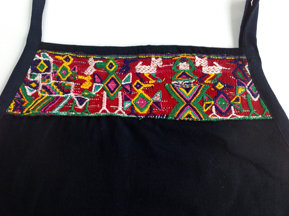 Navy Apron with Nebaj Huipil, Dark Background