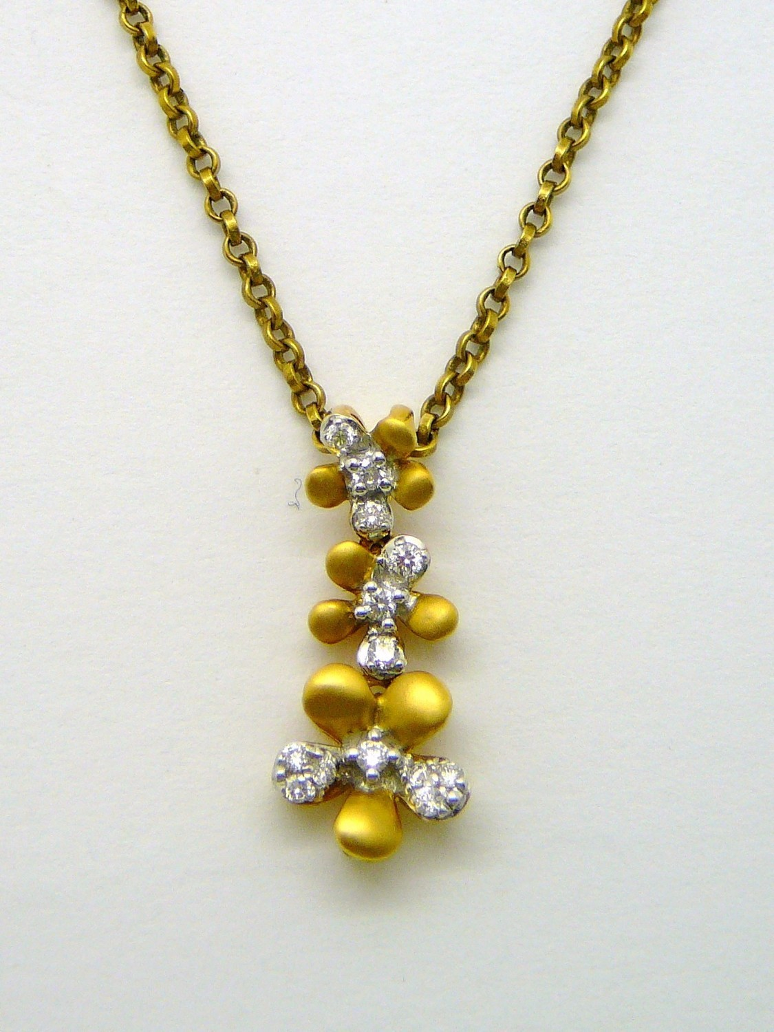 THREE FLOWERS, Drop Pendant. Chain Sold Separately