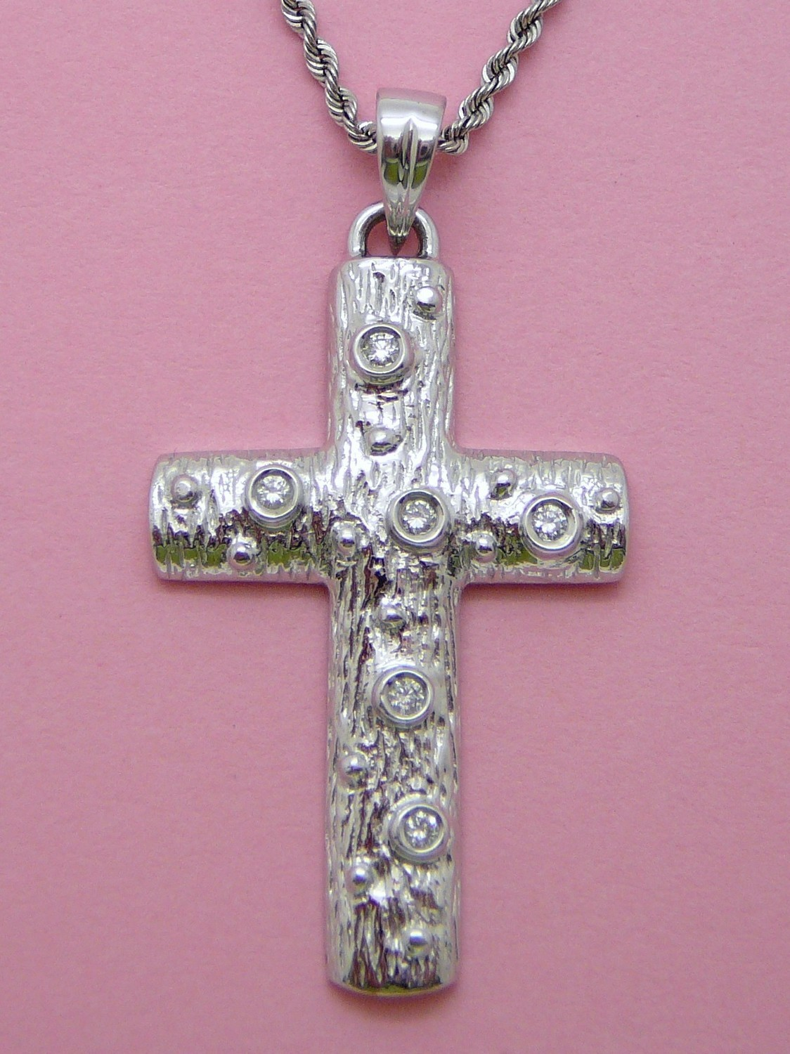WOOD LOOK CROSS W/Dia. Chain Sold Separately