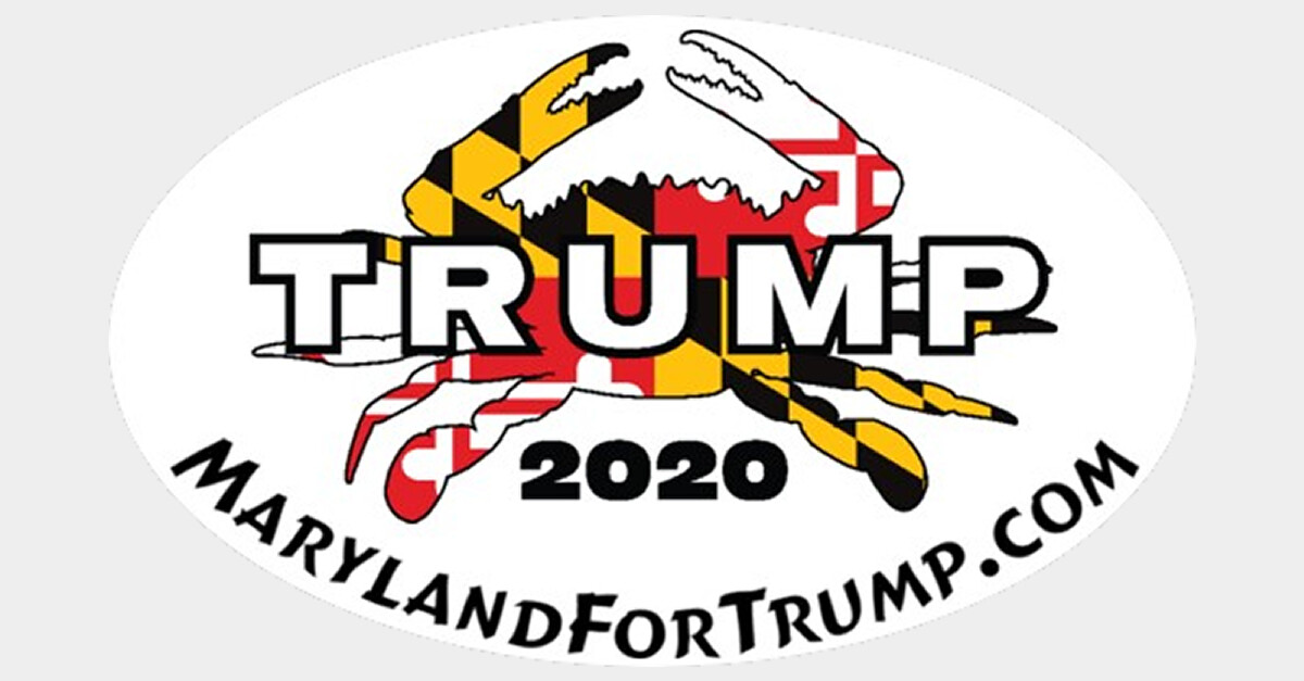 """Maryland for Trump 2020 Crab 3"""" x 5"""" Decal"""
