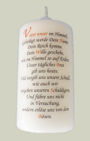 """Gebetskerze mit Spruch """"Vater unser"""""""