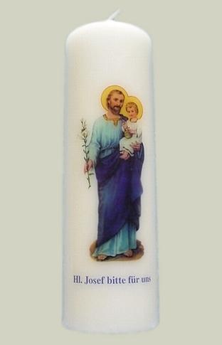 """Elfenbeinfarbene Kerze mit Bild  """"Heilliger Josef"""""""