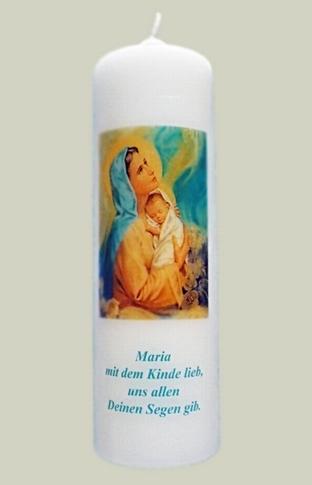 """Elfenbeinfarbene Kerze mit Bild  """"Madonna mit dem Kind"""""""