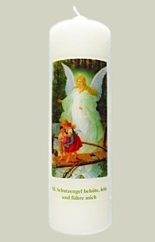 """Elfenbeinfarbene Kerze mit Bild  """"Schutzengel"""""""