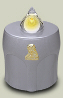 LED Kerze Silber mit Maria Leuchtet 300 Tage (10 Monate)