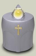 LED Kerze Silber mit Kreuz Leuchtet 300 Tage (10 Monate)