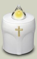 LED Kerze Weiss mit Kreuz Leuchtet 300 Tage (10 Monate)