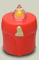 LED Kerze Rot mit Maria Leuchtet 300 Tage (10 Monate)