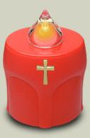 LED Kerze Rot mit Kreuz Leuchtet 300 Tage (10 Monate)