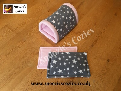 DOUBLE TUNNEL - Grey Stars/Baby Pink with TWO PIGGY PADS