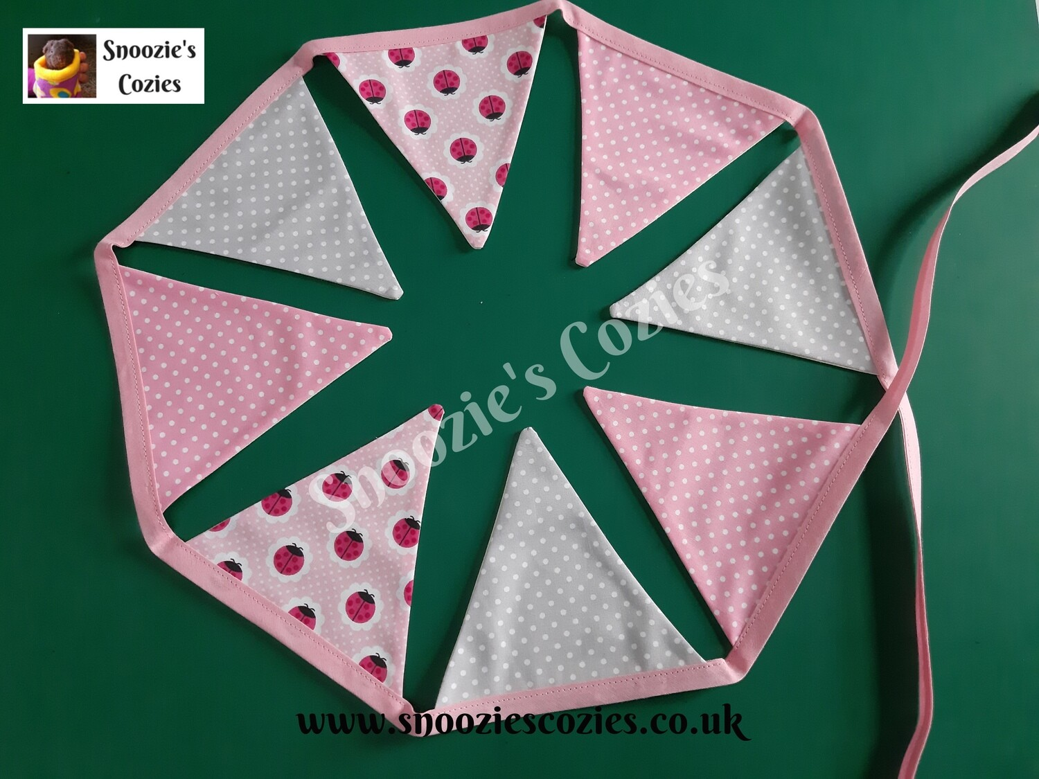 BUNTING - Pink Spot, Grey Spot and Pink Ladybirds  (with pink tape)