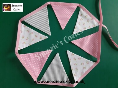 BUNTING - Pink Spot, Grey Stripe and Cream Roses  (with pink tape)